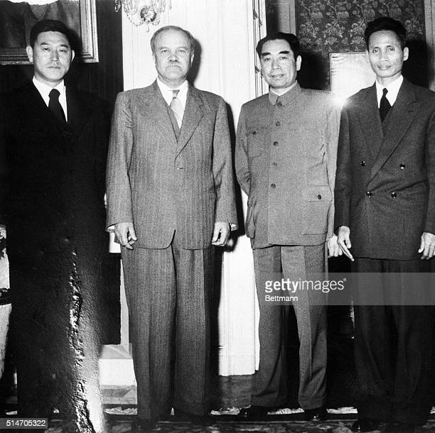 Geneva, Switzerland: Left to right: Nam Il of North Korea; V.M. Molotov, USSR Chou En Lai, Red China, and Pham Van Dong, Vietminh Foreign Minister,...