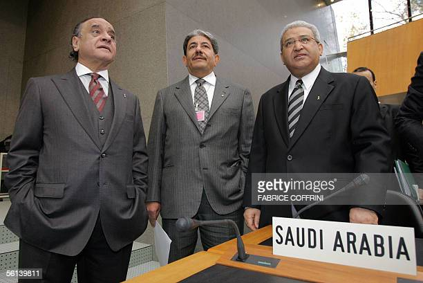 Members of the Saudi delegation to the World Trade Organization from left chief negociator Fawaz Alamy Ambassador Abdulwahad Attar and Commerce and...