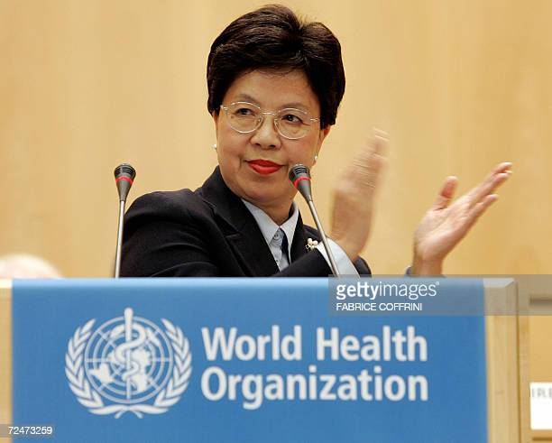 New DirectorGeneral of the World Health Organization China's Margaret Chan gives a speech after her appointed by the World Health Assembly during a...