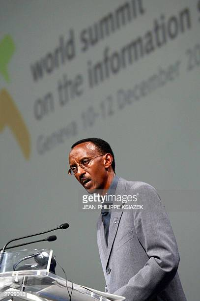 Rwandan President Paul Kagame speaks at the opening of the the UN-sponsored World Summit on the Information Society, 10 December 2003 at the Geneva...