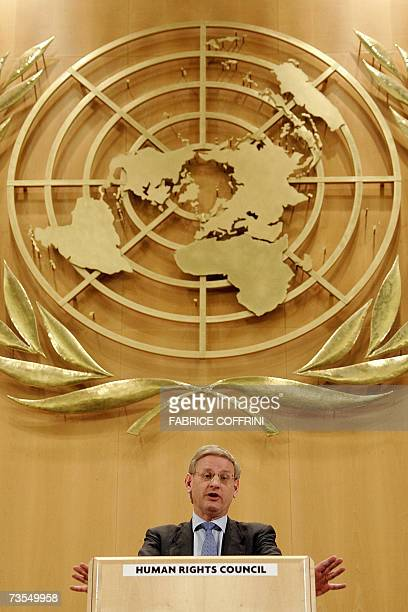 Sween's Foreign minister Carl Bildt delivers his speech before the fourth UN Human Rights Council 12 March 2007 in Geneva The Human Rights Council...