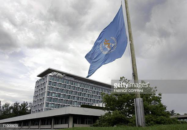 The flag of the World Health Organization flies at half mast in front of the WHO headquarters in Geneva 22 May 2006 as mark of respect for WHO...