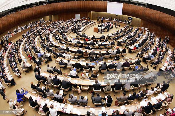 The meeting room holding the second session of the Human Rights Council is seen 18 September 2006 at the United Nations Office in Geneva UN Secretary...