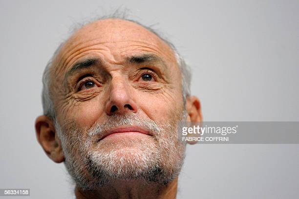 The president of the International Committee of the Red Cross Jakob Kellenberger looks up during the opening of a conference 05 December 2005 in...