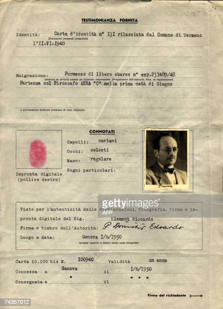 This document released 30 May 2007 by the International Committee of the Red Cross in Geneva show the Red Cross Travel document n 100'940 with the...