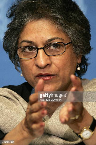 United Nations Special rapporteur on freedom of religion or belief Asma Jahangir gestures during a press conference after a joint report on the...
