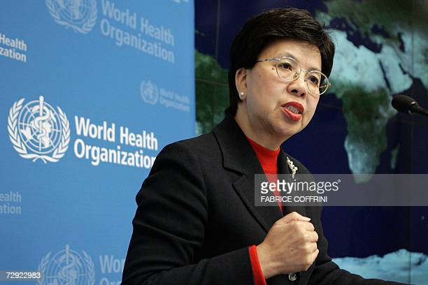 World Health Organisation director general Margaret Chan gestures 04 January 2007 during a press conference after she took up on today her position...