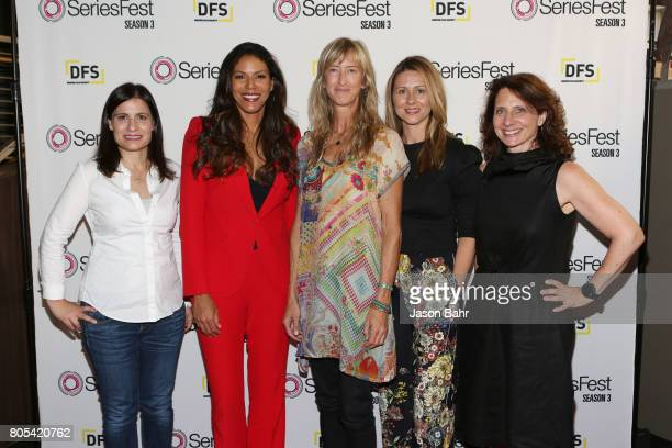 Geneva Wasserman Merle Dandridge Wendy Haines Jamie Jackson and Michele Ganeless arrive to the Women In Entertainment panel discussion for SeriesFest...