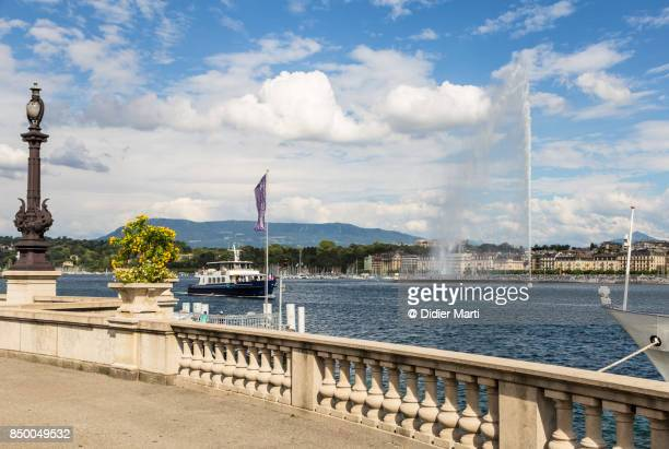 Geneva waterfront with the famous fountain (Jet d'Eau)