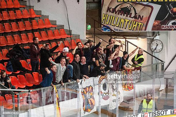 Geneve Servette fans during the Champions Hockey League round of 16 second leg game between SaiPa Lappeenranta and Geneve-Servette at Kisapuisto on...