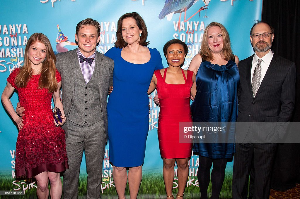 Genevieve Angelson, Billy Magnussen, Sigourney Weaver, Shalita Grant, Kristine Nielsen, and David Hyde Pierce attend the 'Vanya And Sonia And Masha And Spike' Broadway Opening Night After Party at Gotham Hall on March 14, 2013 in New York City.