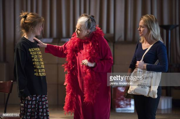 Genevieve Angelson Lois Smith and Amy Hargreaves in rehearsal for 24 Hour Plays on Broadway at American Airlines Theatre on October 30 2017 in New...
