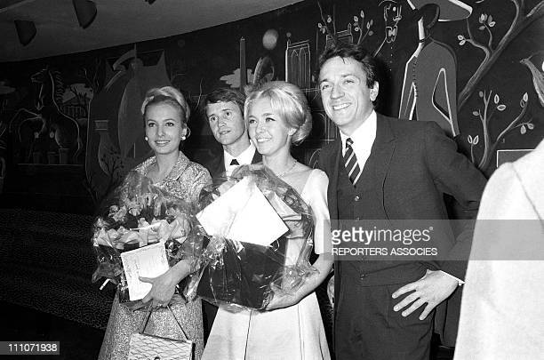 "Genevieve Casile, Philippe Avron, Marie Dubois and Jean Pierre Cassel at the first time of film ""Les Fetes Galantes"" in France on December 15, 1965 -"