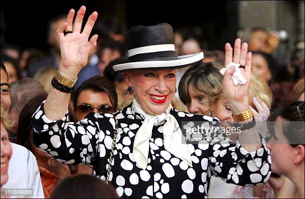 Genevieve de Fontenay at wedding of Elodie Gossuin and Bertrand Lacherie in Compiegne France on July 01st 2006