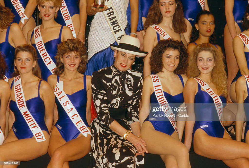 Genevieve de Fontenay sits with the contestants for the 1988 Miss France competition. Genevieve de Fontenay, widow of Louis Poirot and longstanding member of the Miss France Committee, has organized the Miss France pageant since her husband's death.
