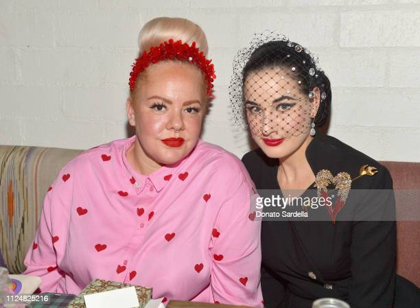 Genevieve Gaignard and Dita Von Teese attend Liz Goldwyn and MATCHESFASHIONCOM celebrate the launch of Frieze LA at Gracias Madre on February 13 2019...