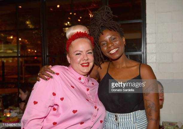 Genevieve Gaignard and Essence Arden attend Liz Goldwyn and MATCHESFASHIONCOM celebrate the launch of Frieze LA at Gracias Madre on February 13 2019...
