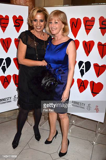 Genevieve Garrigos from Amnesty and actress Elisa Servier attend the 18th Gala 'Musique Contre L'Oubli' in Benefit of Amnesty International 2012 at...
