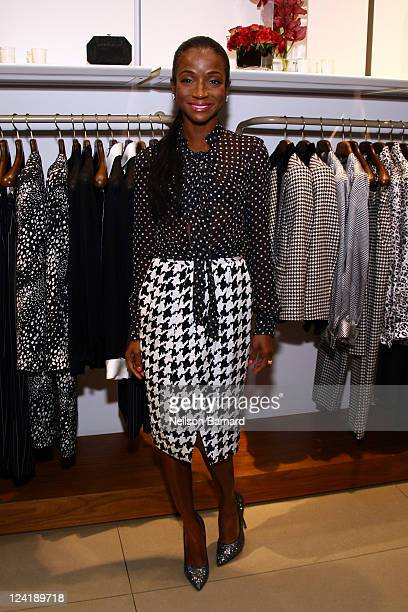 Genevieve Jones attends Ferragamo's Black And White Fete to celebrate Fashions Night Out at Salvatore Ferragamo on September 8 2011 in New York City