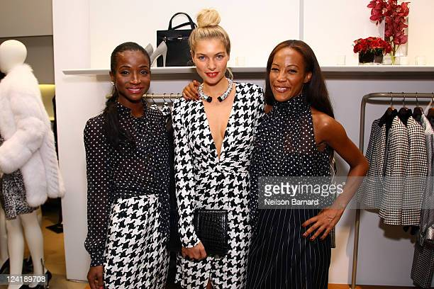 Genevieve Jones Jessica Hart and Maggie Betts attend Ferragamo's Black And White Fete to celebrate Fashions Night Out at Salvatore Ferragamo on...