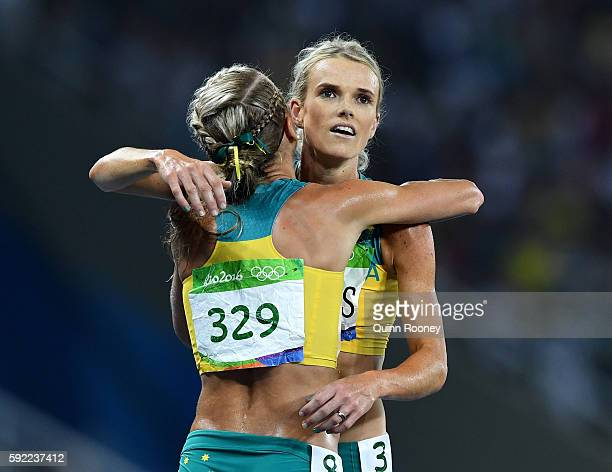 Genevieve Lacaze and Ella Nelson of Australia react after the Women's 5000m Final and setting a new Olympic record of 142617 on Day 14 of the Rio...