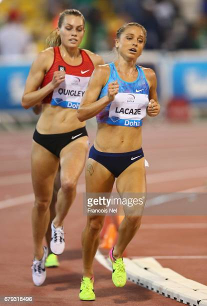Genevieve LaCaze of Australia and Colleen Quigley of the United States compete in the Women's 3000 metres steeplechase during the Doha IAAF Diamond...