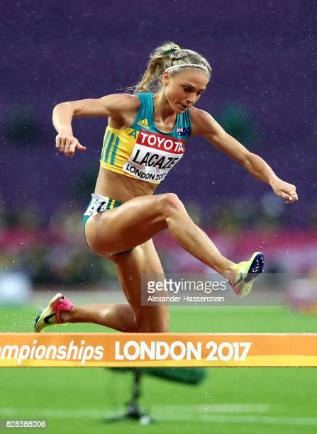Genevieve LaCaze of Australia competes in the Women's 3000 metres Steeplechase heats during day six of the 16th IAAF World Athletics Championships...