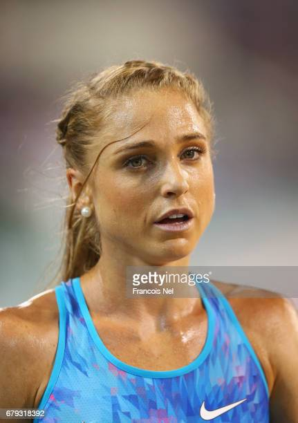 Genevieve LaCaze of Australia looks on after she competes in the Women's 3000 metres steeplechase during the Doha IAAF Diamond League 2017 at the...