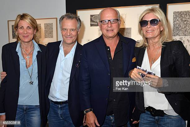 Genevieve Lacroix Hubert Lacroix Laurent Max and Carine Crommelynck attend the 'Jaspers Johns Atelier Crommelynck Engravings' Exhibition Preview At...