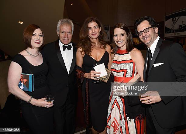 Genevieve McGillicuddy TV personality Alex Trebek Jean Currivan Trebek General Manager of TCM Jennifer Dorian and TV personality Ben Mankiewicz pose...