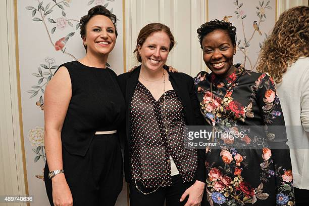 Genevieve Roth Sarah Baker and Judith Registre attend a reception to honor Giovanna Gray Lockhart as the new Glamour Washington DC Editor at a...