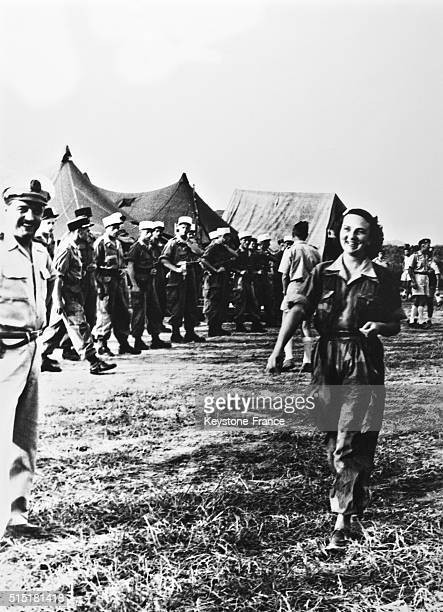 Geneviève de Galard 'the angel of Dien Bien Phu' a nurse in service during the famous battle in AprilMay 1954 against the VietMinh here in 1955 in...