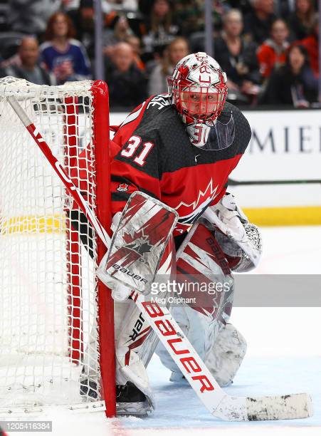 Geneviève Lacasse of the Canadian Women's National Team in the game against the U.S. Women's Hockey Team at Honda Center on February 08, 2020 in...