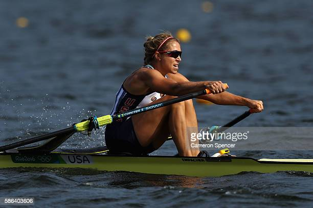 Genevra Stone of the United States competes during the Women's Single Sculls Heat 2 on Day 1 of the Rio 2016 Olympic Games at the Lagoa Stadium on...