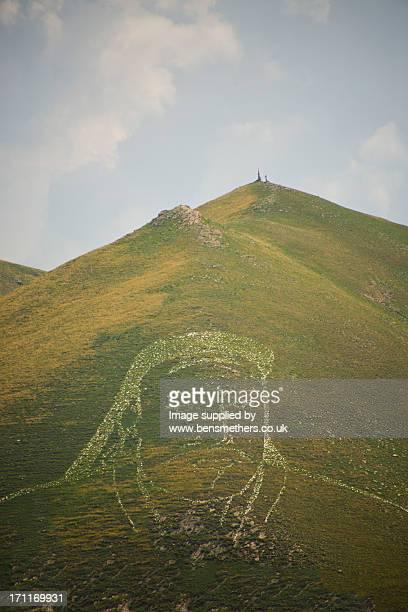 Genghis Khan etched into hillside, Ulaan Bataar