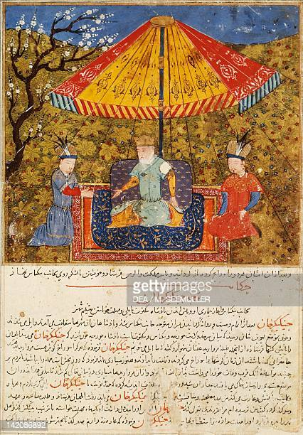 Genghis Khan seated in the garden under a parasol miniature from a Persian manuscript manuscript 1113 folio 116 Persia