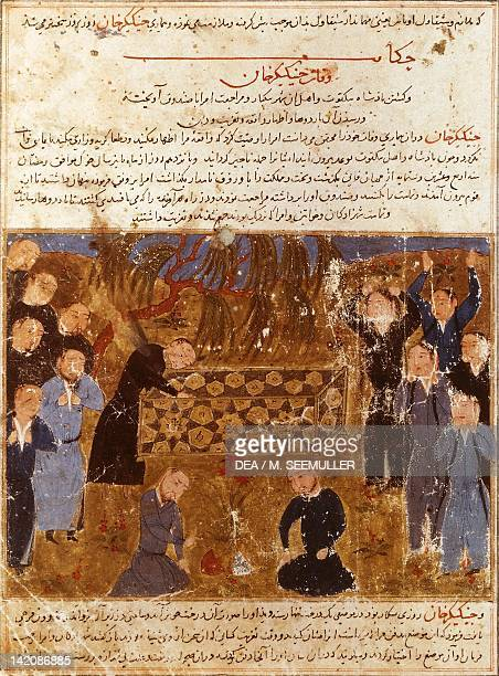 Genghis Khan's funeral Mongols in mourning clothes miniature from a Persian manuscript