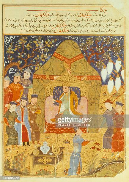 Gengis Khan at his Court illustration from a Persian manuscript 16th century