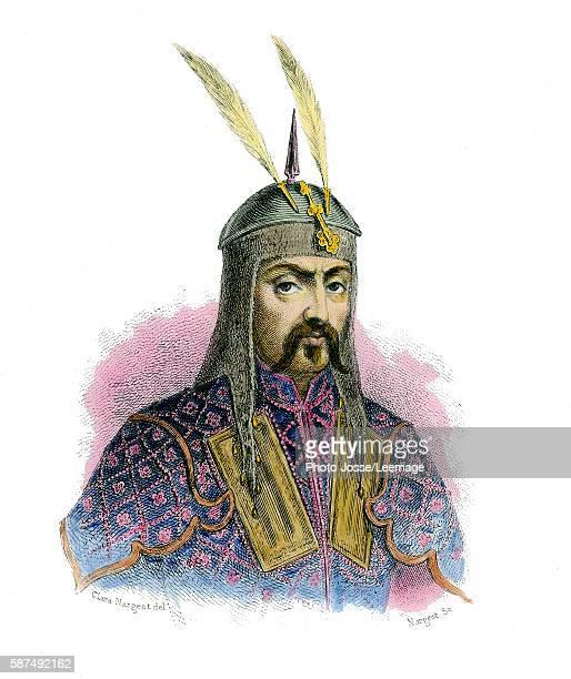 Gengis Khan Emperor of Mogol Empire Engraving Colored