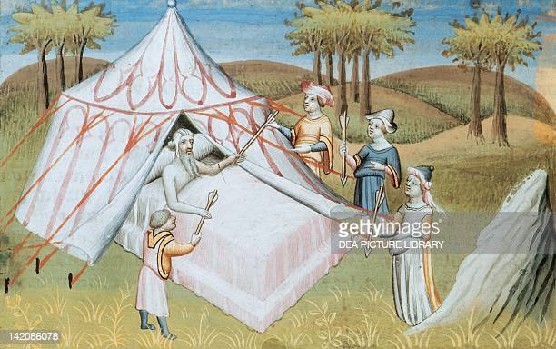 Gengis Khan on his deathbed miniature from Livre des merveilles du monde by Marco Polo and Rustichello France 15th Century