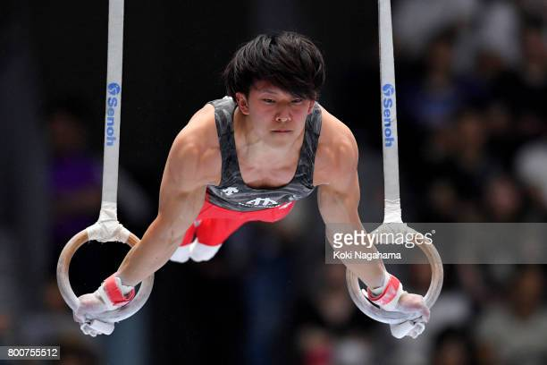 Genichiro Kohzu competes in the rings during Japan National Gymnastics Apparatus Championships at the Takasaki Arena on June 25 2017 in Takasaki Japan