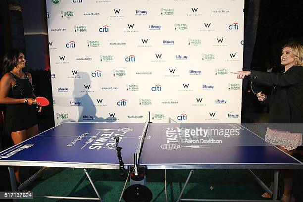 Genie Bouchard and Heidi El Tabakh attend Taste Of Tennis At W South Beach #TASTEOFTENNIS at W Hotel on March 21 2016 in Miami Florida