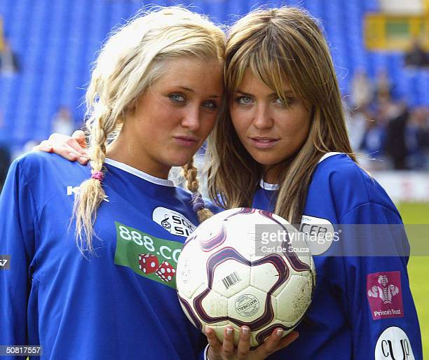Genie Queen's Anna Ord and Abbey Clancy pose at annual Music Industry Soccer Six fundraising tournament at Everton's Goodison Park on May 9 2004 in...