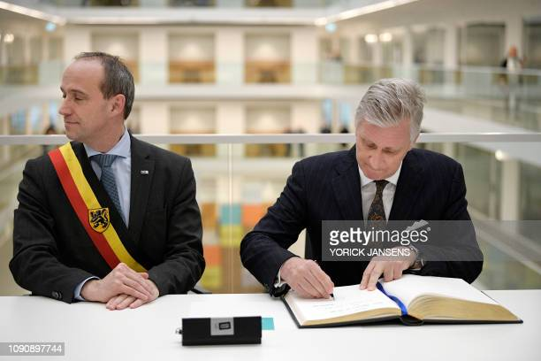 Genk mayor Wim Dries and King Philippe Filip of Belgium pictured during a royal visit to the T2 Technologie en Talent campus in Genk Tuesday 29...