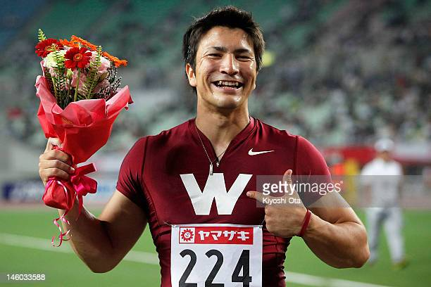 Genki Dean of Japan celebrates after winning the Men's Javelin Throw final with a meet record of 8403m during day two of the 96th Japan National...