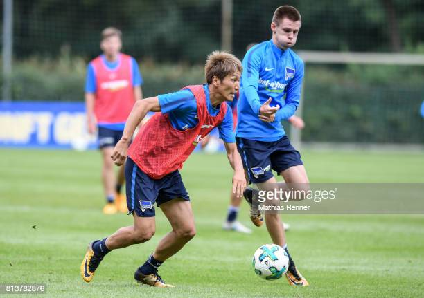 Genki Haraguchi and Julius Kade during the sixth day of the training camp of Hertha BSC on july 13 2017 in Bad Saarow Germany