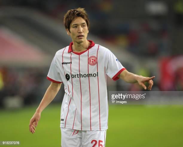 Genki Haraguchi gestures during the Second Bundesliga match between Fortuna Duesseldorf and FC Erzgebirge Aue at ESPRIT arena on January 24 2018 in...