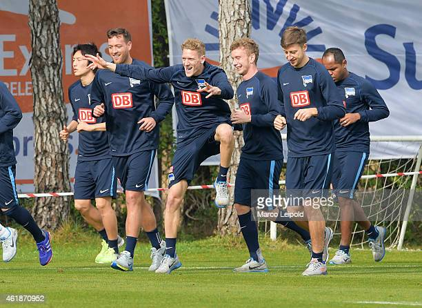 Genki Haraguchi Julian Schieber Johannes van the Bergh Fabian Lustenberger Jens Hegeler and Ronny of Hertha BSC during the training camp at Cornelia...