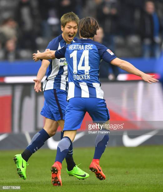 Genki Haraguchi of Berlin celebrates scoring his goal with Valentin Stocker during the Bundesliga match between Hertha BSC and FC Ingolstadt 04 at...