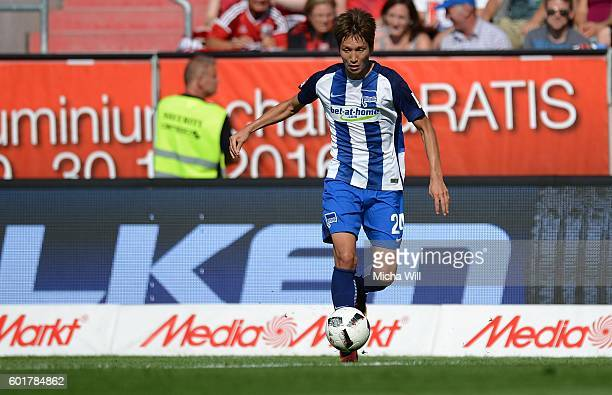 Genki Haraguchi of Berlin controls the ball during the Bundesliga match between FC Ingolstadt 04 and Hertha BSC at Audi Sportpark on September 10...